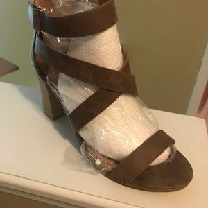 Qupid Taupe strappy heels